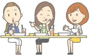 外食をしている女の人たち