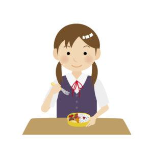 お弁当を食べる女子
